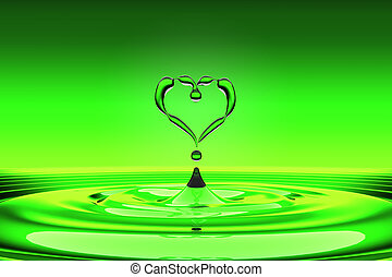 Heart shaped green water drops