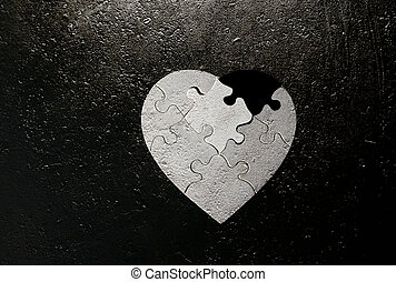 heart shaped grunge - black and white heart shaped puzzle...