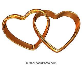 heart-shaped, gyűrű, két