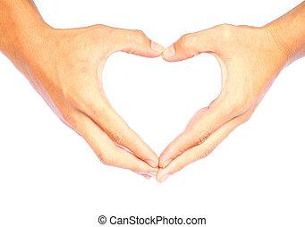 heart-shaped, hands.