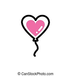 heart shaped helium balloon, line style and color