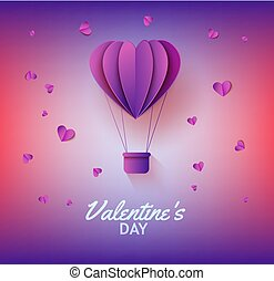 Heart shaped hot air balloon in paper art on gradient background for Valentines Day greeting card.