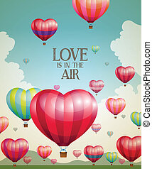 Heart-shaped hot air balloons taking off with a vintage effect