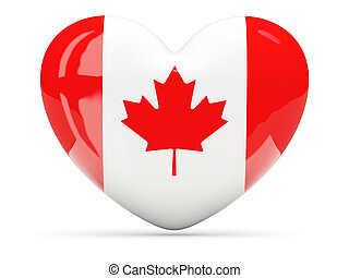 Heart shaped icon with flag of canada