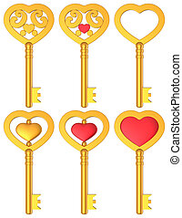 Heart Shaped Key 3D Gold Set