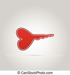 heart shaped key, key for love concept