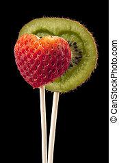 heart shaped kiwi and strawberry
