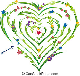 Vector concept illustration. Maze of love. Heart shaped labyrinth. Floral design. White background.