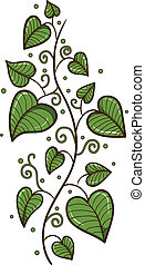 Heart shaped leaves border. - Sketch element for romantic ...