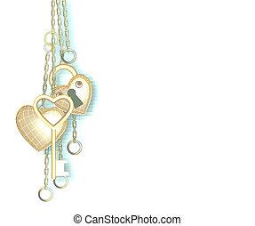 Heart shaped lock, key and ring