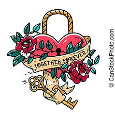 Heart shaped lock. Tattoo heart under lock and key. Together...