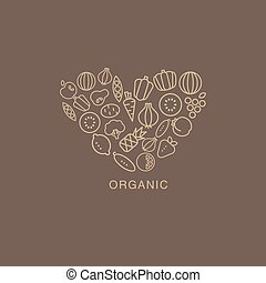 Heart Shaped Logo Composed Of Fruits And Vegetables On Brown Background