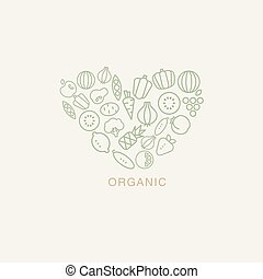 Heart Shaped Logo Composed Of Fruits And Vegetables On White Background