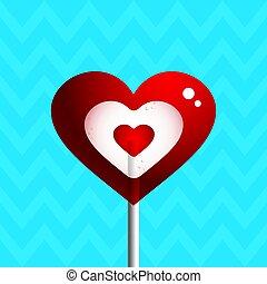 Heart shaped lollipop on a blue background. Vector