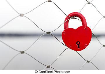 Heart shaped love padlock