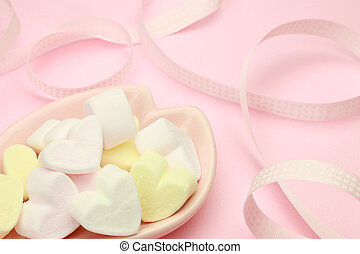 heart-shaped marshmallow - I expressed white day with a...