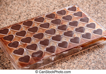 Heart shaped mold for making chocolate