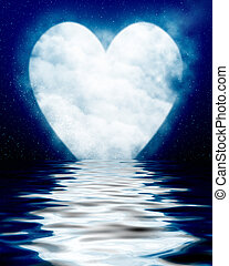 Heart shaped moon reflected in ocean