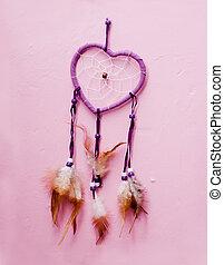 heart shaped native american dreamcatcher. - Heart shaped...