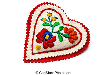 Heart shaped needle pillow decorated with Hungarian embrodiery