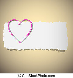 Heart shaped paper clip. Vector eps10