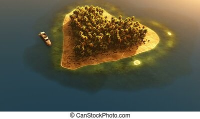 heart shaped paradise island in ocean at sunset and yacht