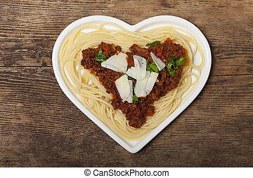 heart shaped pasta dish