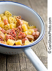 heart shaped pasta in colander