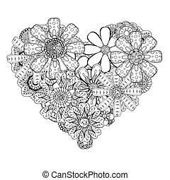 heart-shaped pattern - Monochrome Heart of flower doodle...