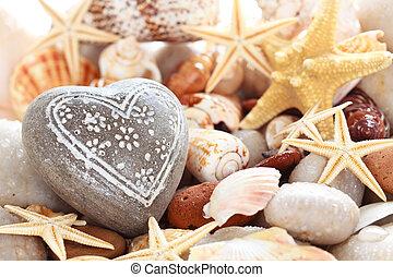 Heart shaped pebble .