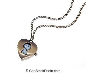 heart shaped pendant isolated on white