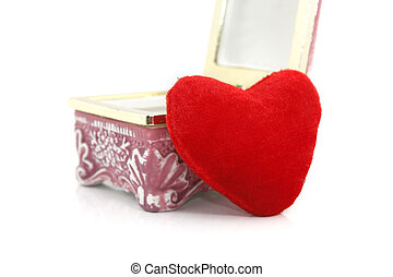 Heart shaped pillow with gift box