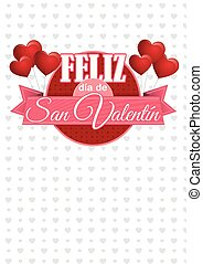 Heart shaped pink balloons holding a circle sign with a pink ribbon with the message FELIZ DIA DE SAN VALENTIN - Happy Valentine's Day in Spanish language - on a white background with gray hearts