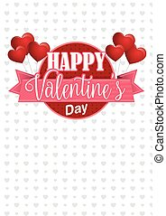 Heart shaped pink balloons holding a circle sign with a pink ribbon with the message Happy Valentine's Day on a white background with gray hearts