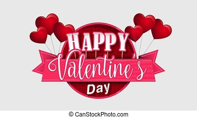 Heart shaped pink balloons holding a circle sign with a pink ribbon with the message Happy Valentine's Day on a white background with gray  and pink hearts. Animation 2D. Alpha channel included
