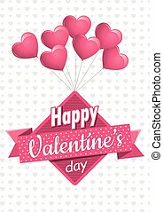 Heart shaped pink balloons holding a square sign with a pink ribbon with the message Happy Valentine's Day on a white background with gray hearts