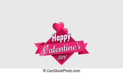 Heart shaped pink balloons holding a square sign with a pink ribbon with the message Happy Valentine's Day on a white background. Animation 2D. Alpha channel included