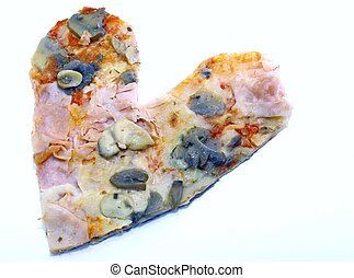 heart-shaped, pizza, für, liebhaber