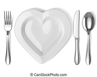 heart shaped plate with silverware 3d illustration