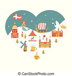 Heart shaped poster with set of danish symbols