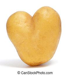 heart-shaped potato - a heart-shaped potato on a white...