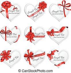 heart-shaped, presente, festivo, ribbons., cartões, vermelho
