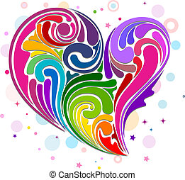 Heart-shaped Rainbow - Illustration of Rainbow-colored...