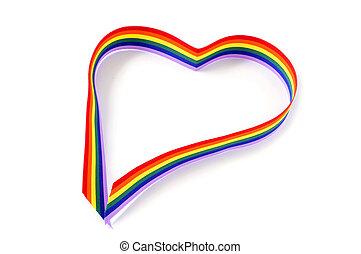 heart-shaped rainbow ribbon