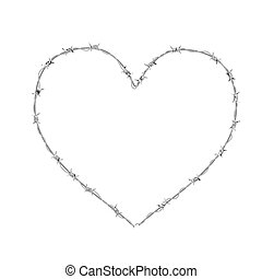 Heart shaped realistic glossy barbed wire isolated on white