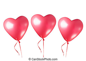 heart shaped red balloons, isolated on white
