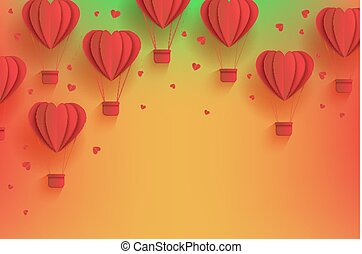 Heart shaped red hot air balloons in trendy paper art style on gradient background.