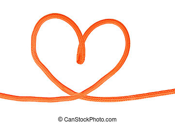 Heart shaped red knot on a jute rope isolated on white background