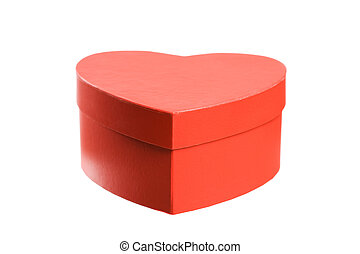 Heart shaped red present box.