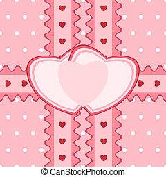 heart-shaped, Renda, Padrão, Saudação,  seamless, cartão